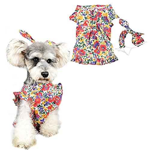 HACRAHO Vestido Floral para Perro, 1 paquete Rojo Vestido de Verano Transpirable para Perros con Diadema de Lazo Ajustable Vestido de Niña para Perros Pequeños Y Gatos, Circunferencia Del Pecho 18.50'