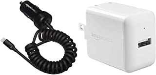 AmazonBasics Coiled Cable Lightning Car Charger, 1.5 Foot, Black Bundle with AmazonBasics One-Port USB Wall Charger for Phone, iPad, and Tablet, 2.4 Amp, White