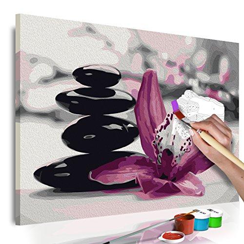 murando - Malen nach Zahlen Blumen Orchidee 60x40 cm Malset mit Holzrahmen auf Leinwand für Erwachsene Kinder Gemälde Handgemalt Kit DIY Geschenk Dekoration n-A-0549-d-a