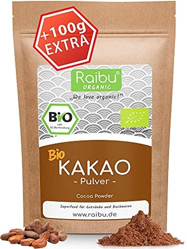 RAIBU® Kakao Pulver BIO Vegan 1kg + 100g extra I Reines Kakaopulver entölt ideal zum Backen als Backkakao oder als Trinkschokolade I 100{9a5a3c11059e1fb636083f353151a6a987c54e9735b8495fbe90aff18968d8ca} natürlicher Rohkakao abgefüllt in Deutschland