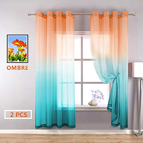 YZhome Orange and Cyan Sheer Curtains for Kids Room 2 Panel,Lovely Multicolor Aqua Teal Ombre Voile Drapes Grommet Faux Linen Curtain for Party Birthday Decoration Supplies (W52 x L84,Orange to Cyan)