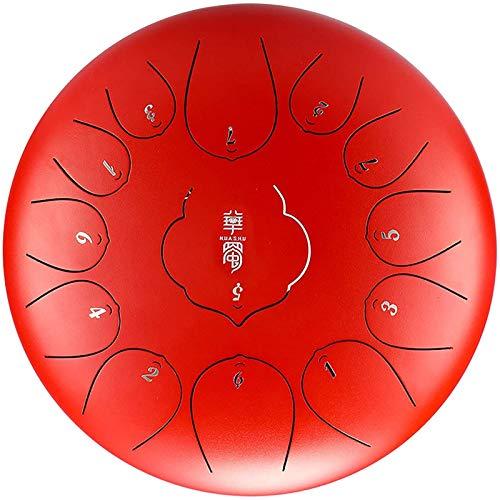 Tambor Handpan, Tambor de la lengua de acero de 12 pulgadas, instrumento de percusión de 13 tonos, mazos de goma para musicales, educación mente curativo yoga meditación, con bolsa de batería y baterí