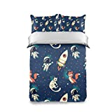 3 Piece Twin Bed Set Highly Quality Children's Twin Size Comforter Cover Sets Rocket & Astronaut 1 Duvet Cover with 2 Pillowcases Cover Bedding Set Decorative for Kids