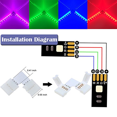 16.4 FT 5050 4Pin RGB LED Strip Extension Cable Connector Kit Include 4X Strip to Adapter,4X Strip to Strip Jumpers,2X L-Shape Connectors,2X T-Shape Connectors,4X Gapless Connectors