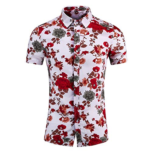 Yowablo Shirt Tops Herren Freizeit Digital Print Stitching T-Shirt Bluse (5XL,7Rot)