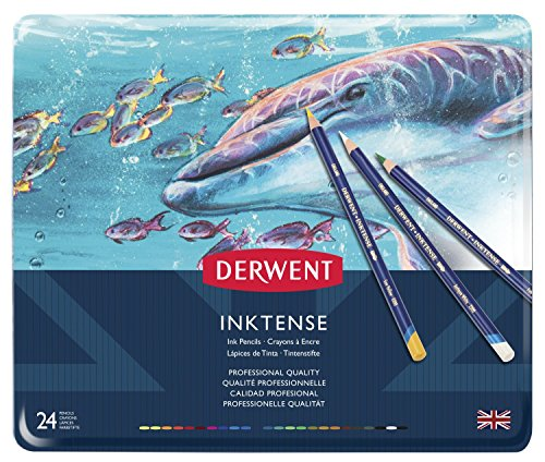Derwent Inktense Pencil Set, Assorted Color, 24-Tin