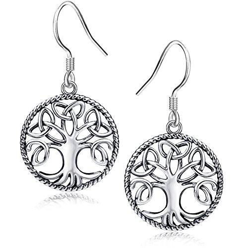 APOTIE 925 Silver Celtic Knot Tree of Life Drop Hook Earrings Mother Day Jewelry Gift for Mom
