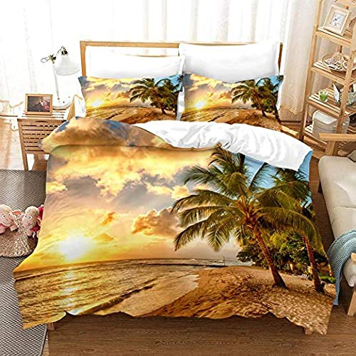 HUA JIE Funda Nordica Ropa Cama Playa Funda Edredón Oceánico Twin Sunset Hawaiian Palm Tree Waves Funda Edredón Tropic Island Sea Beach Nature Theme Ropa Cama Estampado Decorativa