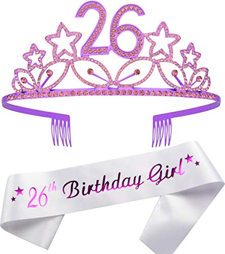 Tiara und Schärpe zum 26. Geburtstag, mit schwarzer Glitzer, Satin-Schärpe und Kristall-Tiara, für den 26. Geburtstag