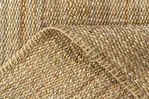 HAMID Jute Teppich - Granada Teppich 100% Natürliche Jutefaser - Weicher Teppich und Hohe Festigkeit - Handgewebt - Wohnzimmer, Esszimmer, Schlafzimmer, Flurteppich - Natürlich (110x60cm) - 5