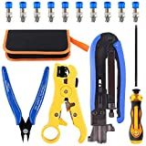 Hilitchi 5 in 1 Coaxial Compression Tool with Instruction Manual Coax Cable Crimper Cable Stripper RG6 RG59 RG11 75-5 75-7 Screwdriver and Micro Cutter with 10 PCS F Compression Connectors Blue RG6
