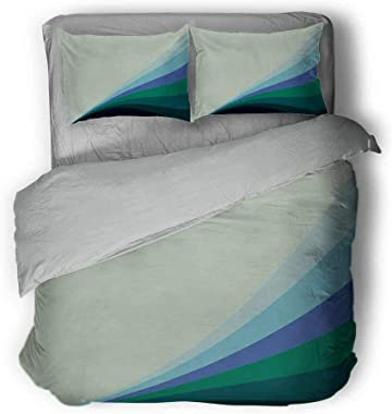 """Teal Three-Piece Solid Color Wavy Lines in Various Shades of Blue Abstract Artwork Vibrant Pattern Light Comforter Queen 89""""x89""""inch Pale Green Aqua Blue Mint"""