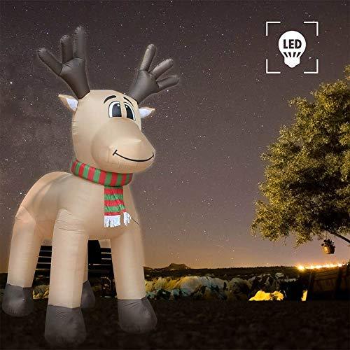 Aufblasbares Rentier XXL 500cm mit 5 Energiesparenden LEDs IP44 Beleuchtet Befestigungsmaterial Weihnachtsdeko Aufblasbar Beleuchtet Außen Deko Figur Groß für Außen