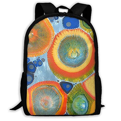 "Peacock Pattern Wave Point Color Printed School Backpack Water Resistant Travel Rucksack Bag Laptop Lightweight Backpack Daypack,17"" Mochila Escolar"
