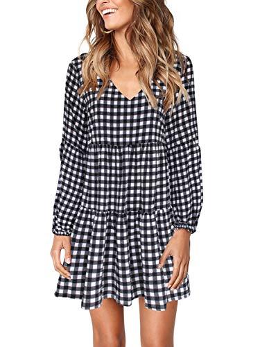 Amoretu Women Casual V Neck Long Sleeve Ruffle Summer Dress Black/White Plaid XL