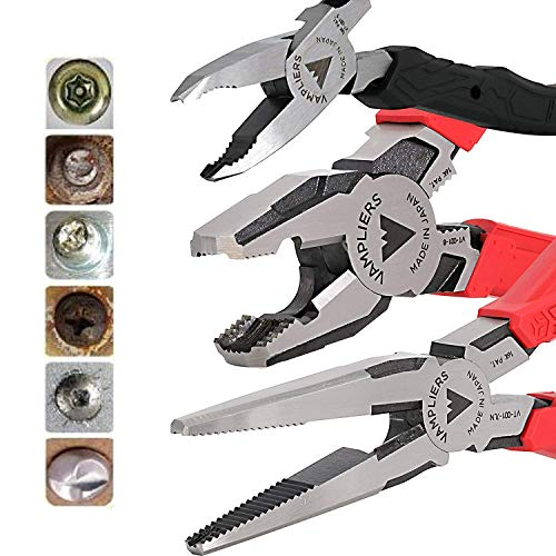 VAMPLIERS World's Best Pliers! VT-001-S3EPGS Premium 3-PC Gift Set for Rusted/Stuck/Security/Damage/Screws/Bolts Extractor + FREE VT Tools Pouch Perfect Holiday Season Gift Unique Time Saving Tool Set