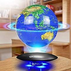 XHJZ-W Floating Globe z diodami LED Magnetyczna Orbita Pływająca Orbita Pływająca Mapa Świata Globe do dekoracji stołu Obrót 360 ° - Niebieski -8 Cali