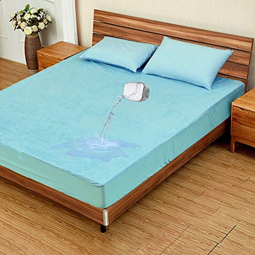Plain Fitted Bed Sheet with 30CM Depth, Waterproof Bed Mattress Protector, Cover Breathable Stain Proof Non-Allergenic & Non-Noisy, Ultra Soft and Breathable, 5 Colours