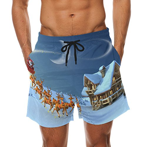 COOSUN Men's Christmas Santa Claus Beach Board Shorts Quick Dry Swim Trunk