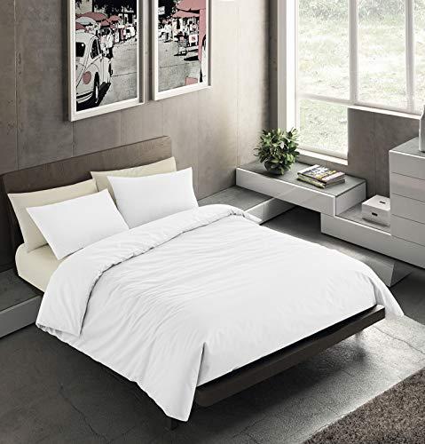 Banzaii Set Copripiumino Bicolor 100% Microfibra con Federa Double Face Singolo 150x200 cm Bianco/Bianco