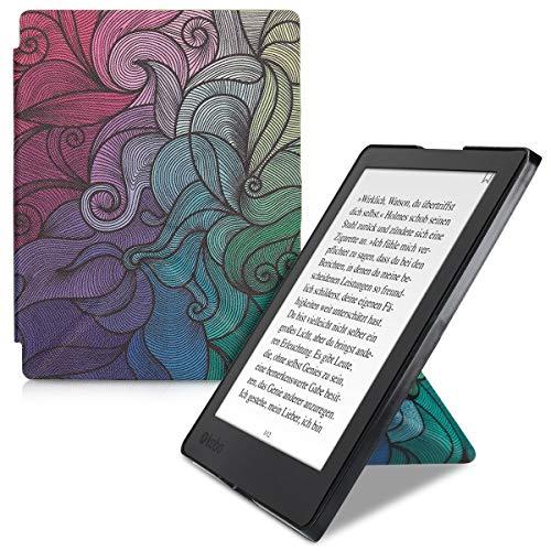 kwmobile Funda Compatible con Kobo Aura H2O Edition 2 - Carcasa magnética de Origami para e-Book - postmodernista Rosa Fucsia/Azul/Verde