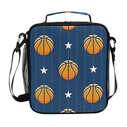HaJie Stripes - Bolsa de almuerzo con aislamiento de baloncesto con soporte para botellas para mujeres, niños, niñas, hombres, trabajo, bolsa térmica para almuerzo