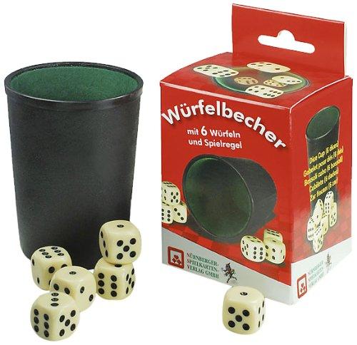 Nürnberger-Spielkarten 8016 Giochi Accessori 6 Dadicon con Tazza Di Dadi, plastica [importato dalla Germania]