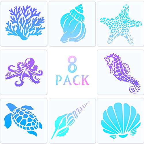 8 Pieces Marine Life Animal Mold Printing Stencils Set, Sea Turtle, Starfish, Conch, Seahorse, Coral, Shell, Octopus Design, Reusable Mylar Template, 5.1 x 5.1 Inch for DIY Art Wall Floor Decoration