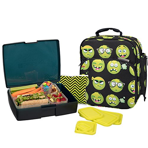 Bentology Lunch Bag and Box Set for Boys, 9 Pieces Total - Kids Insulated Lunchbox Tote, Bento Box, 5 Containers and Ice Pack - Emoji
