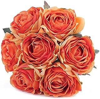 Kimura's Cabin Artificial Flowers Fake Silk Rose Flower Bouquet Floral Plants Decor for Home Garden Wedding Party Decor Decoration (Orange)