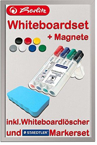 Herlitz 10524627 Whiteboard und Magnettafel, 40 x 60cm / Kombi-Set (+ Marker, Löscher & Magnete, Azurblau)