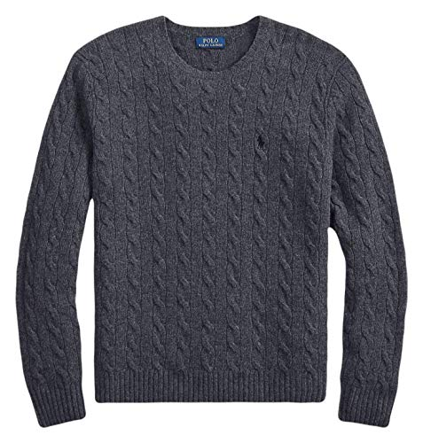 Ralph Lauren Polo Men's Cashmere Wool Blend Cable-Knit Crewneck Sweater (Dark Charcoal Heather, XX-Large)