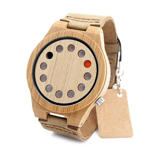 Rtimer Kreative Herren 12 Löcher Design Bambusholz Uhren braunen Lederband japanische Quarz-Uhrwerk