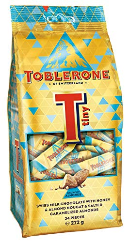 Toblerone Tiny Swiss Milk Chocolate with Honey & Almond Nougat & Salted Caramelized Almond 34 Pcs, 272g