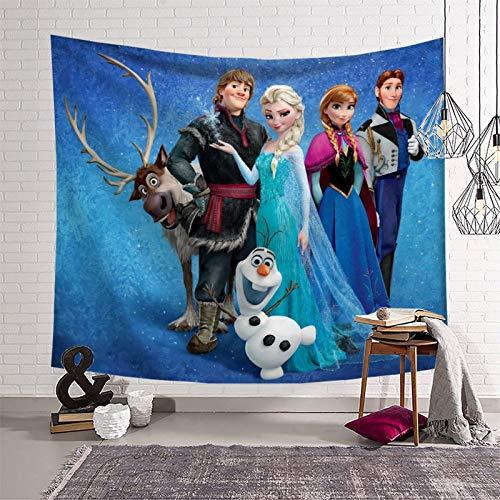 Anime Movie Frozen - Tapiz decorativo para colgar en la pared, diseño de Elsa y Anna Princesa Olaf Kristoff Hans Sven para toalla de playa, funda de sofá, sábanas, cortinas de 150 x 130 cm