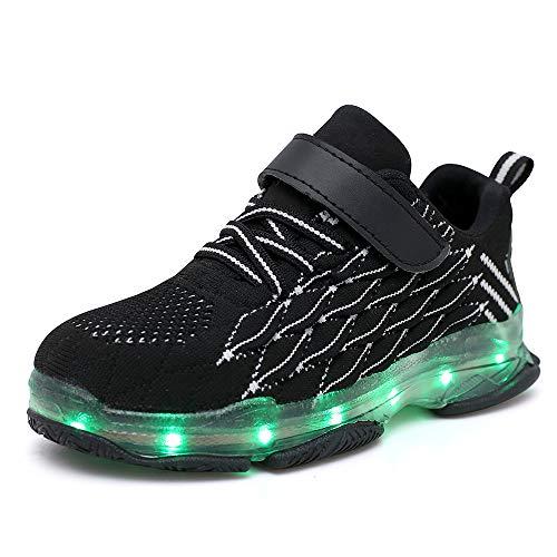 LED Leuchtende Bunte Sneaker Turnschuhe Unisex Kinder Jungen Mädchen Sportschuhe Leichte Schuhe Mesh Trainer Kinder Shoes Leuchtschuhe Licht Blinkschuhe Leuchtende Sport Sneaker Light up Turnschuhe