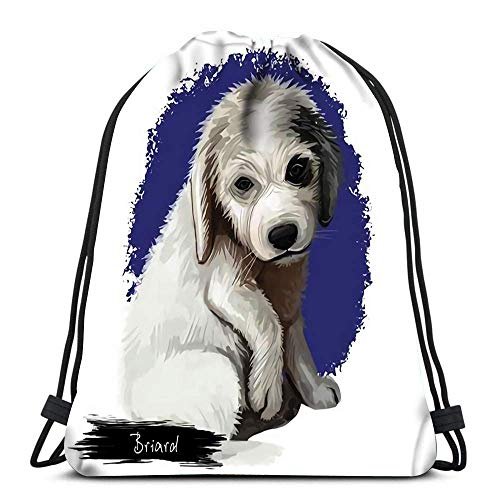 Ahdyr Bolsas con cordón para Gimnasio Briard Retrato de Raza de Perro Arte Digital Cachorro francés Colores Negros y Grises Pedigrí Almacenamiento Deportivo Bolsa de poliéster para Gimnasio