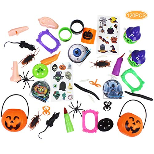 catyrre 120Pcs Halloween Funny Tricky Toy Set for Kids Children, Halloween Party Joking Gift Haunted House Dekorative Props
