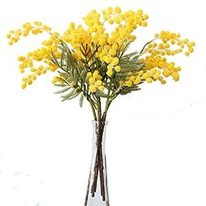 Xilyya Artificial Plush Australia Acacia Yellow Mimosa Spray Cherry Wedding Flower Party Event Decor