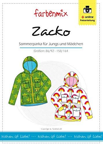 Zacko Farbenmix Schnittmuster (Papierschnittmuster für die Größen 86/92-158/164) Parka