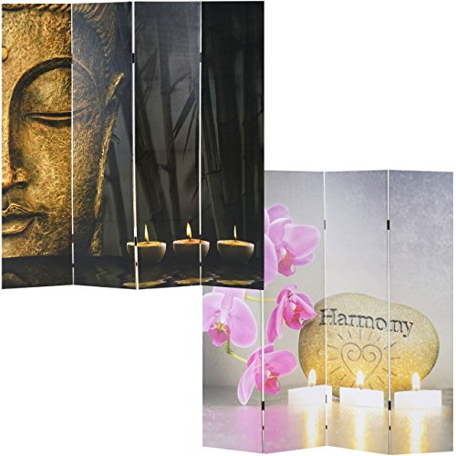 Mendler Foto-Paravent Buddha, Paravent Raumteiler Trennwand ~ 180x160 cm