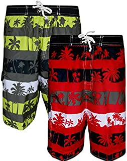 Quad Seven Boys Printed Swim Trunks (2 Pack) Palmtrees Size 3T' [並行輸入品]