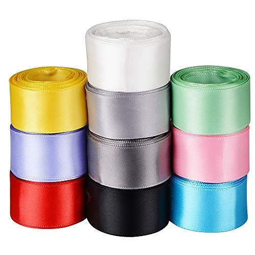 FLOFIA 10 Rollo de Cinta de Satén de Colores Seda Raso Tela Multicolor 25mm de Ancho para Manualidades Decoración Costura Embalaje Regalo Cajas Flores Navidad Boda Fiesta (10 Rollos x 5 m)