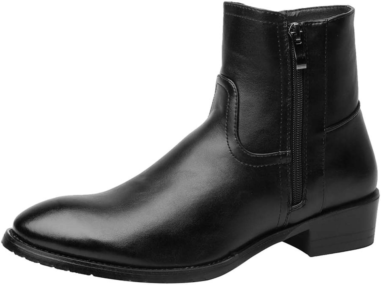 MUMUWU Men's Fashion Ankle Boots Warm Velvet Casual Side Zipper Boots Winter Boots