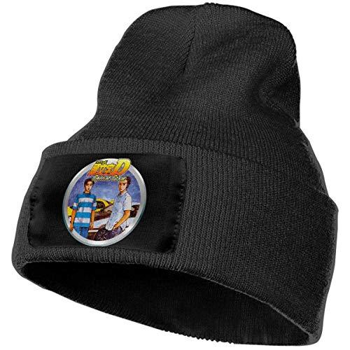 AOOEDM Mens e Womens Initial D Special Stage Skull Beanie Cappelli Berretti invernali lavorati a maglia Cappello da sci caldo e morbido Nero