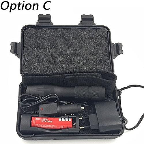 Option C, Fédération de Russie, T6  lampe de poche LED Puce L25000LM Matériau en alliage d'aluminium lampe torche Zoomable 5commutateur Modèle en option chargeur de batterie Housse Tool box