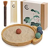 "Japanese Zen Garden Kit for Desk - Sand Garden Tools and Accessories Box Set for Office Desktop - 12"" Large Round Bamboo Tray, 4 Stamp Spheres, Natural Sand, Rake - Mini Zen Decor Meditation Gifts"