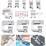 11 Pieces Sewing Hemming Set, Include 3 Wide Hem Foot, 3 Narrow Rolled Hem Presser Feet, Bias Binder Foot, Adjustable Guide Foot, 2 Straight Stitch Foot, Border Guide Sewing Machine Presser Foot