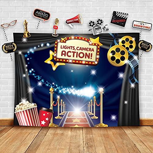 Fiesta Temtica de Accin de Hollywood Fotografa Teln y Accesorios de Estudio Pelcula de Cine. Disfraz, Cumpleaos, Alfombra Roja, Decoraciones Mesa, Fiesta Suministros, Foto Pantalla y Fotomatn