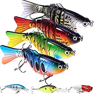 7 Pcs Fishing Lures with a Tackle Box, Lifelike Fishing Lures Bass Lures Set, for Multi Jointed Swim Baits Slow Sinking Hard Lure Fishing Tackle Kits